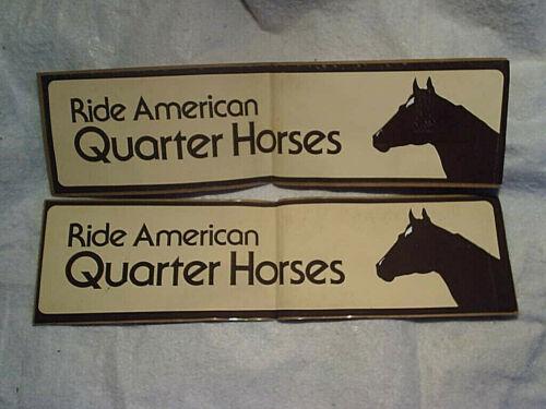 2-RIDE AMERICAN QUARTER HORSES BUMPER STICKERS,Unused,Vintage,old