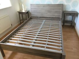 Grey IKEA double bed frame, mattress and bedside tables