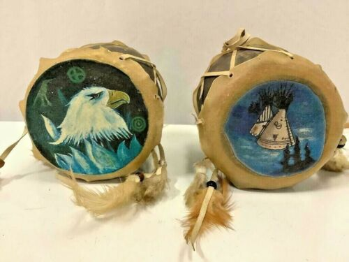 Vintage Native American hide Painted Hand Drums Pacific Northwest Artist Signed
