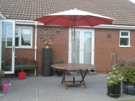 quality folding garden table and parasol