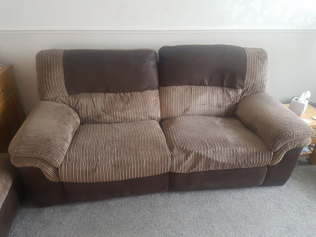 2 3 Seater Recliner Sofas And Pouffe In Brown