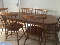 Walnut Table and 6 chairs
