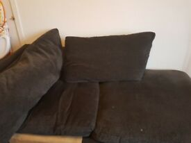 Dark grey fabric corner sofa and arm chair