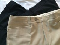 Men straight 3 trousers Bruce Field cigarette fitted Size 32 PolyWool Stretch