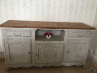 Painted French sideboard with parquet wooden top