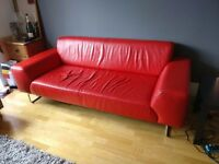 3-Seater Red Leather Sofa