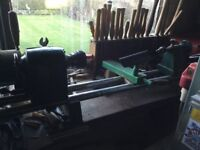 Contents of a wood turning workshop, including Record no 3 Lathe, chucks and turning tools