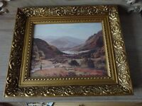 Vintage Pair of Gilt Framed Mountain scenery prints pictures- Nice old pictures- frame