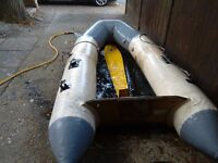 Inflatable dinghy 3 metres achillies with 4 air chambers wooden transom inflatable keel vgc