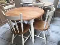 SOLID PINE UPCYCLED DROP LEAF TABLE AND 4 CHAIRS VGC RELISTED DUE TO BUYER NOT TURNING UP