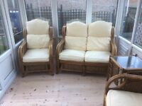 Conservatory sofa +2 chairs & small coffee table