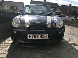MINI COOPER 1.6 PETROL CONVERTIBLE MANUAL SALE £3,300 ono~BLACK/SILVER STRIPE~CHILI PACK~