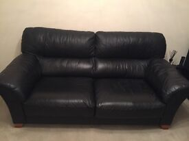 Good quality Reid Black Leather three seater Sofa, two Armchairs and Footstool