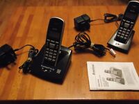 Dual Digital Cordless Phones with Answering Machine. Energizer Rechargeable Batteries