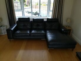 Black Leather Sofa, Three Seats plus Chaise