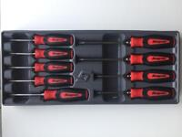 Snap On Red Torx Soft Grip Screwdrivers in Storage Tray