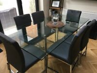 Dwell Glass Dining Table (seats 6) + Dwell Loop leg dining chairs x6 (grey)