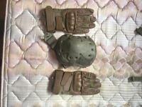 Warrior Firestorm Hard Knuckle Glove Coyote Tan with Hard shell MTP Knee pad