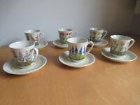 Vintage Villeroy & Boch 6 Piece Floral Coffee / Espresso Cups & Saucers - Never Used