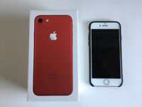 iPhone 7 Red 128GB Unlocked with Apple Leather Case