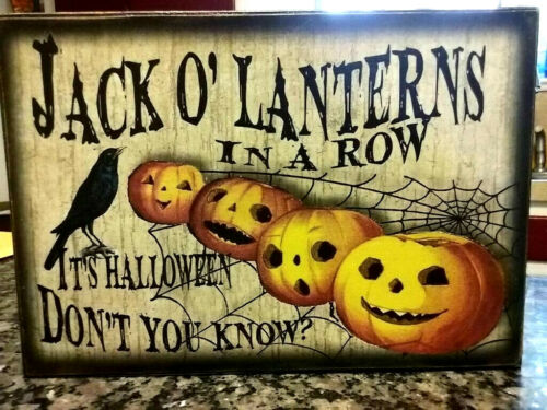 Set of 4 Wooden Vintage Halloween Signs