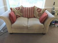 2 used DFS sofas and accompanying footstool