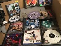 SONY PLAYSTATION WITH GAMES AND CONTROLLER