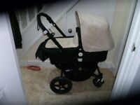 Bugaboo Cameleon 3 Sand & Black Pushchair + Carrycot + Maxi Cosy Car Seat +++ Extras
