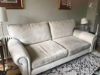 LAURA ASHLEY Kingston large sofa ivory chenille velvet
