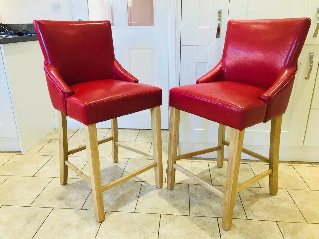 Two red leather breakfast bar stools chairs great condition