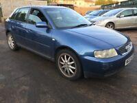 Audi A3 SE 1595cc Petrol 5 speed manual 5 door hatchback 03 plate 27/06/2003 Blue