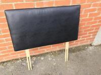 Black faux leather single headboards