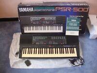 Yamaha PSR 500 Keyboard and Stand - original box & instructions, foot pedal and a Midi lead