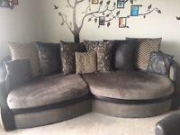 Angled sofa and swivel love chair