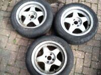 3x Alloy Wheels... 4x100... VW Golf, Polo, Lupo. SEAT Arosa, Ibiza. BMW E30.