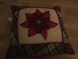 Christmas Red Pyramid,Christmas cushion, 2 small jars with baubles and 2 tea light holders