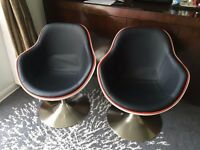 PAIR OF SWIVEL EGG CHAIRS