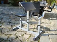 SIT DOWN FITNESS PREACHER ARM CURL HOME GYM WORKOUT BENCH AS NEW ONLY £25 FOR QUICK SALE