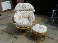 Wicker Swivel Chair and Foot Stool