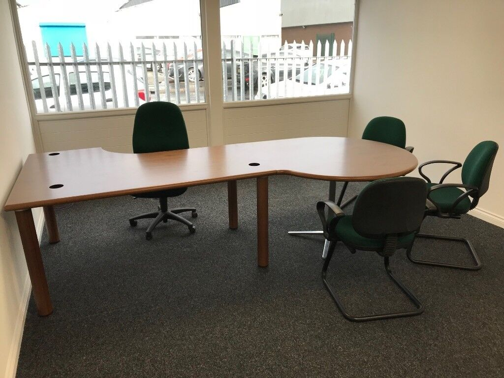 Office Desk In Quality Wood Veneer With Meeting Table Excellent Condition Bernauld Glasgow Gumtree