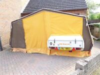 Nimrod Trailer tent sleeps 6. Beds.Cooker,sink,awning. internal fittings Used condition