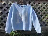 Light blue sweatshirt with logo, age 12-13