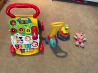 Vtech baby walker, Vtech little singing bear, fisher price hoover & little tikes spinning bees toy