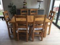 Extendable solid pine 6ft table and 6 chairs