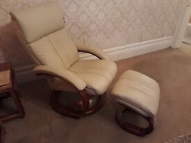 Cream leather swivel chair, never used