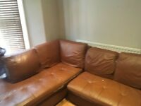 Lovely leather corner sofa- great for an up-cycle project