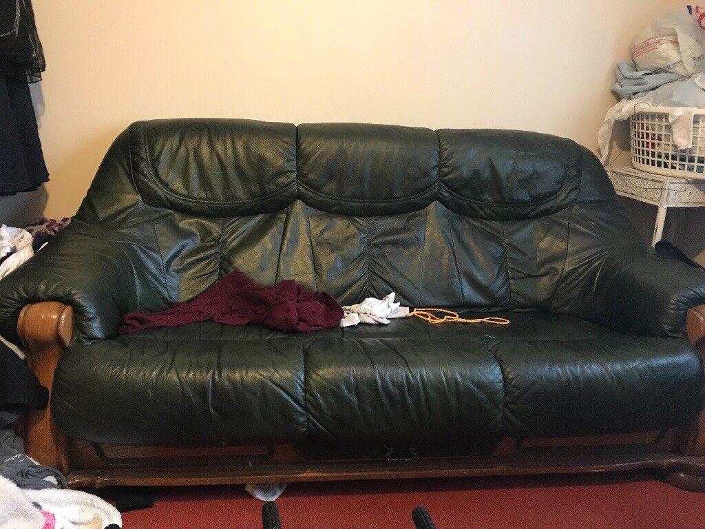 Dark green leather sofa FREE   in Norwich, Norfolk   Gumtree