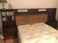 MAHOGANY BEDROOM SUITE SET HEADBOARD UNIT & DRESSING TABLE SOLID WOOD VERY GOOD CONDITION RETRO