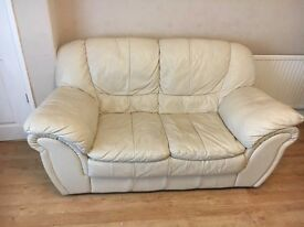 Leather Cream Sofa Suite 2+3 Seater FREE DELIVERY