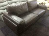 Brown quality endurance leather large 3 seater